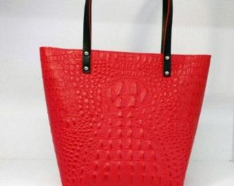 Crocodile print leather red shopper bag Tote
