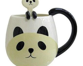 Cute Panda Cup Mug white Spoon