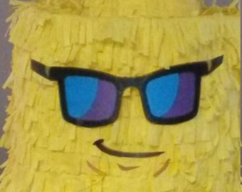 Lego Brick Head cool guy with sunglasses Piñata. Handmade. New