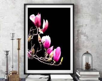 Crimson Magnolia, Magnolia Print, Botanical Art, Modern Wall Decor, Floral Print, Large Poster, Flower Print, Magnolia Photography, #110a