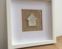 New home clay house frame. Personalised with any small message stamped on