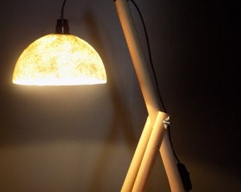Wood fiberglass shade table lamp