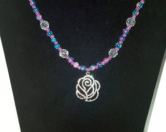Pastel Glass Necklace with Faux Diamond Rose Pendant