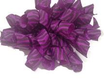 Purple zebra korker bow, baby girl hair bow, korker bows, purple and black hair bow