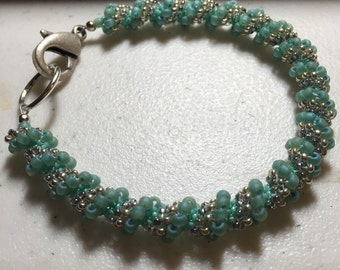 Turquoise Woven Spiral Bracelet