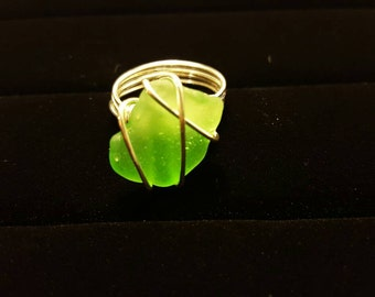 Beach Glass Ring - Sterling Silver - Size 7