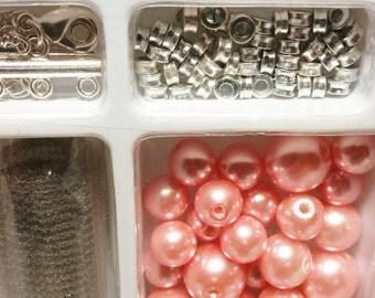 Pink Glass Pearl Necklace , Jewelry Kit, SGScraftsupplyshoppe, Craft Supplies