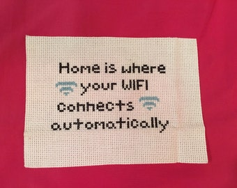 Home is Where Wifi Cross Stitch Sign