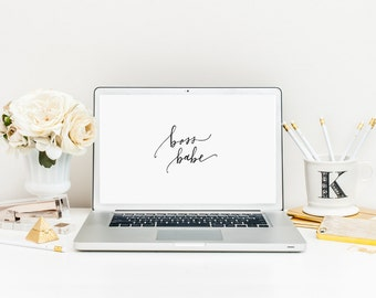 Boss Babe Calligraphy Quote Computer Background/Wallpaper - Digital Download