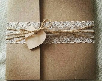 Rustic Pocketfold Wedding Invitation with Lace & Finished with a Wooden Heart. Other Colours Available to Match your Theme *SAMPLE*