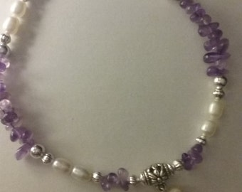 Amethyst and freshwater pearl Anklet