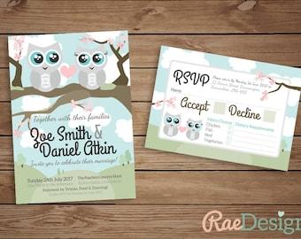 Printable Owl Wedding Invitation and RSVP Set