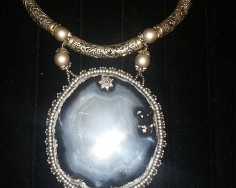 Silver,Authentic,Real heavy based Stones,leather backing,amazing detail in person.One of a kind necklace.