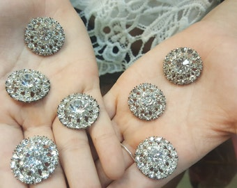 Crystal Rhinestone Silver Round Buttons