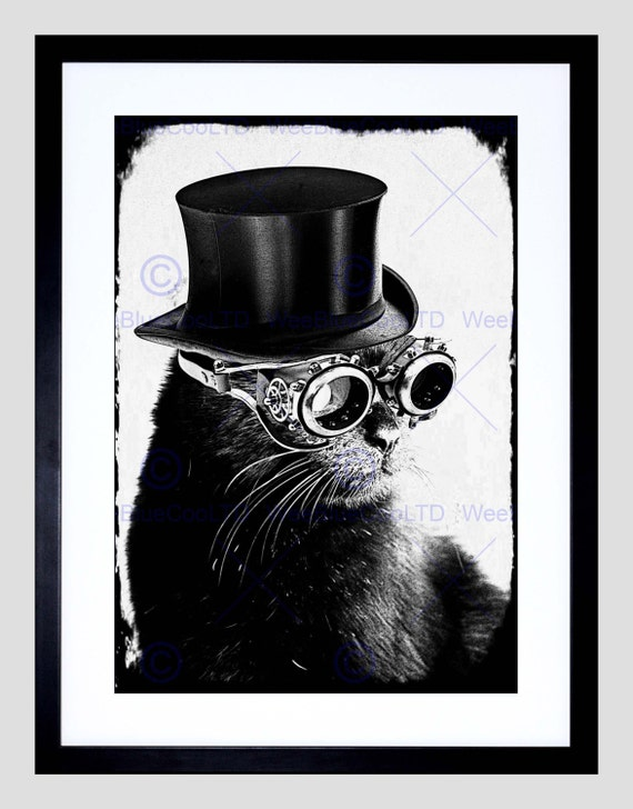 Photo Painting Fielding Steampunk Cat Grey Xmas Art Print Poster FEHP110 by WeeBlueCooPrints steampunk buy now online