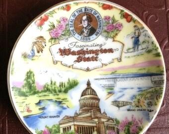 Vintage Washington State mini plate -victoria ceramics japan circa 1960's