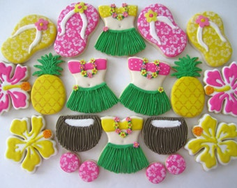 Hawaiian/luau/beach theme cookies