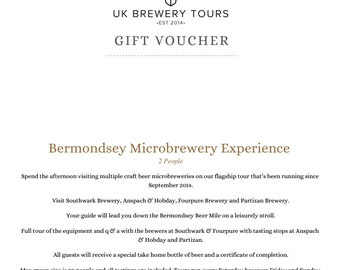 Gift Voucher for Two: Bermondsey Microbrewery Experience