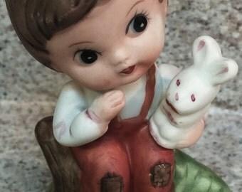 Sweet Vintage Retro Ceramic Boy w/ bunny