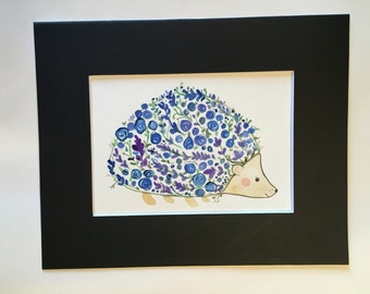 Hedgehog with Blue Flowers
