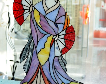 """Stained glass table lamp, interior lamp """"Geisha"""""""