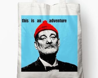Bill Murray Adventure Tote Bag steve zissou life aquatic wes anderson quote