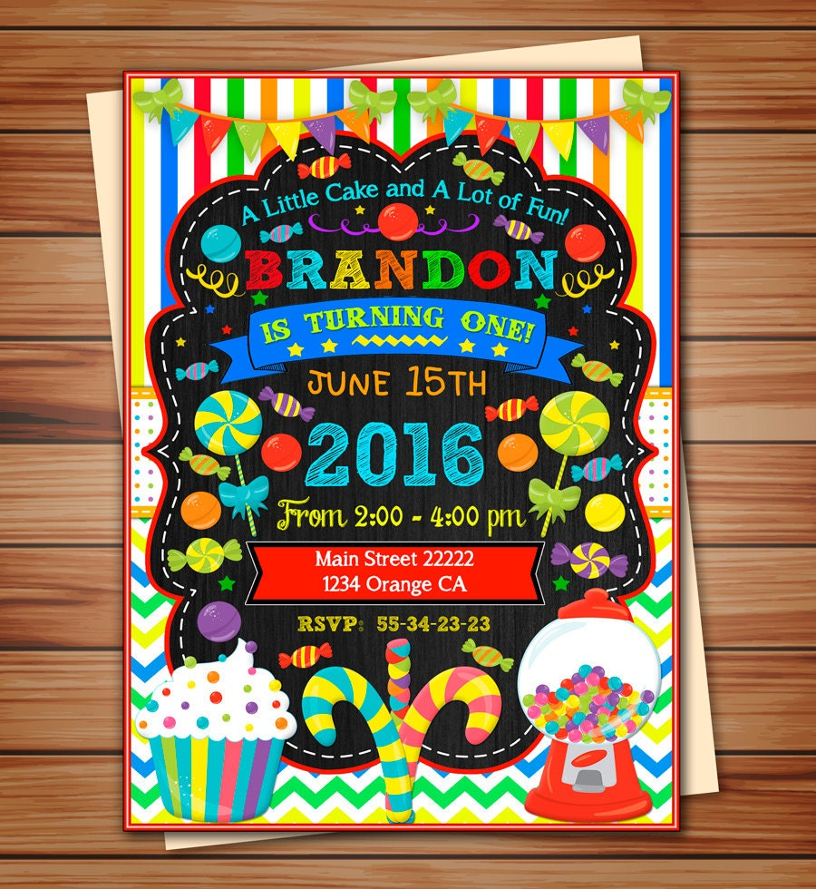 Candyland Party Invitation For Boy Candyland Digital