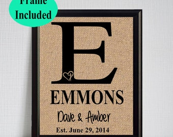 Personalized Wedding Gift Last Name Established Gift for the Couple Bridal Shower Gift Wedding Gift for the Bride Framed Burlap Print Name