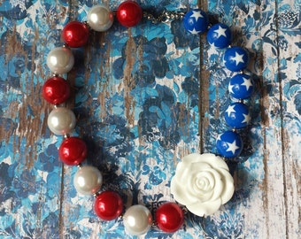 4th of July Infant/Toddler Bubblegum Necklace