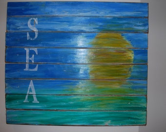 Pallet Wood Sign- SEA Sunset