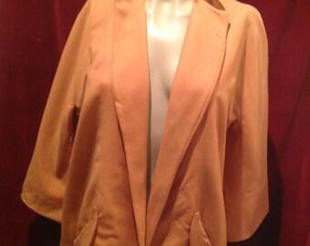 1950s Wool Swing Jacket / Orange 1950s 2 Pockets Swing Jacket / 3/4 Lenght Seeves.