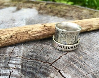 """A """"Delightfully Chaotic"""" Spinner/Worry/ Reminder Ring in Sterling Silver"""