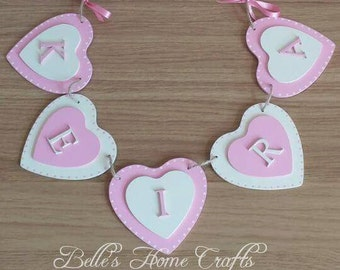 Personalised Name Heart or Star shaped Bunting, Nursery Decor