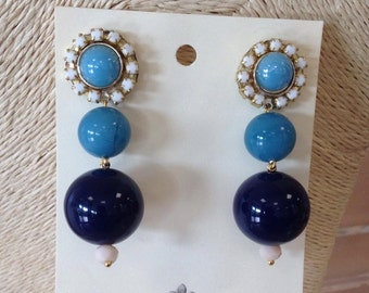 Blue Balls and pins earrings gem