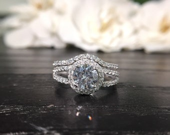 1.2ct Halo Ring Split Shank Engagement Ring Brilliant Cut Diamond  Simulate 925 Sterling Silver