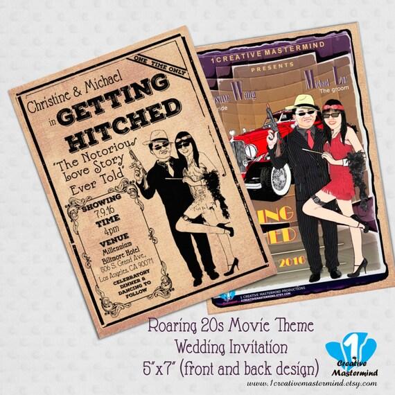 Roaring 20s Movie Theme Wedding Invitation By