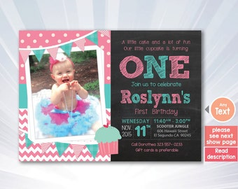 Cupcake invitation - Cupcake birthday party - girl invitation - pink invitation - personalized
