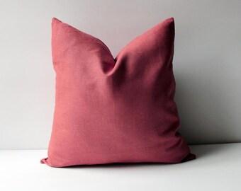 Red Linen Pillow Cover, Pillow Covers 20x20, 18x18, 16x16, 24x24, Linen Pillow