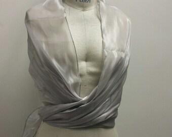 Organza Wrap, LIGHT SILVER, Party Dress Cover Up, Bridal Bridesmaid Shawl