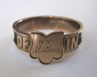 Late Victorian Mourning Ring, My Mother, with hair, 9ct gold