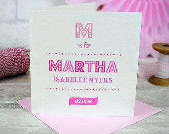 Personalised New Baby Girl Card - Fun Typography Print - Congratulation Baby Card