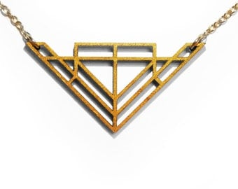 Gold Geometric Laser Cut Wooden Necklace : #3