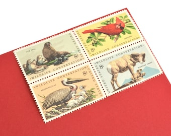 24 Wildlife Conservation Stamps - 8c - Vintage 1972 - Unused - Animal Stamps - Quantity of 24