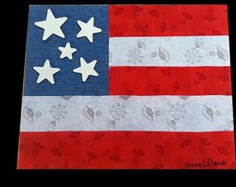Fabric Flag on Canvas