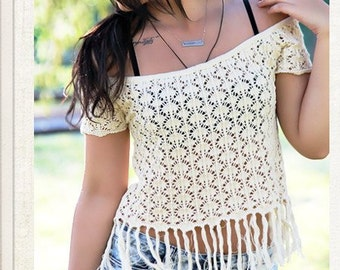 Cream Crochet Tassel top