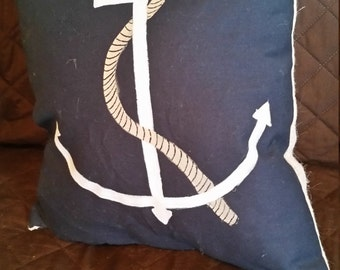 Hand Painted Anchor Pillow