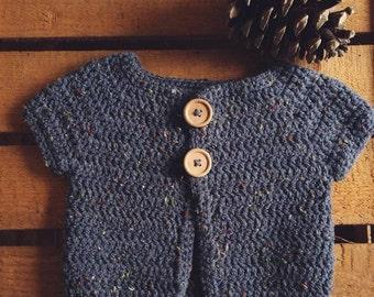 To order - vest sleeveless indigo tweed crochet baby unisex natural wood buttons