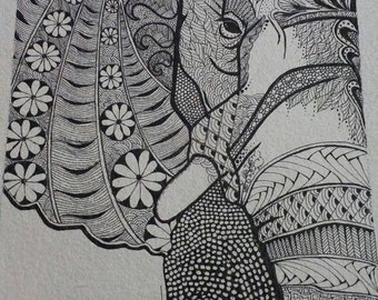 elephant zentangle pen art,25cmx31cms handmade watercolor paper