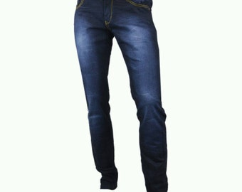 Cougar paws Dark blue with light highlight men's Denim  jeans