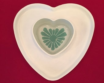 Hand Painted white and terquoise Heart Shaped Cake Stand/Chip and Dip